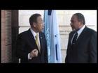 Ban Ki-moon meeting with Avigdor Lieberman in Jerusalem Credit Naama pasternak